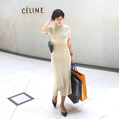 CHANE gold pearl dress